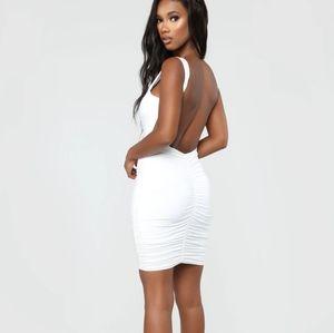 Fashion Nova low back ruched mini dress white